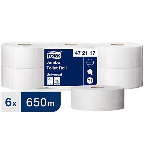 Tork Jumbo toiletpapier in geavanceerde kwaliteit voor het Tork T1 Jumbo toiletpapiersysteem, 6 x 3.250 Blatt, 1-laags, 6