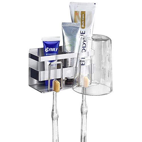 TentHome Zahnbürstenhalter Edelstahl Zahnputzbecher Halter Zahnpasta Halter 3 in 1 Selbstklebend Lagerregal Badezimmer Zubehör Zahnbürstenhalterung (Paar Modelle, 3 in 1-1 Stück)