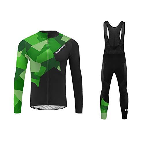 Uglyfrog Termico Invernale Tuta Ciclismo Uomo Maglietta Bici Maniche Lunga + Pantaloni MTB in Gel 3D Abbigliamento Ciclista Squadra IT19LZRT03