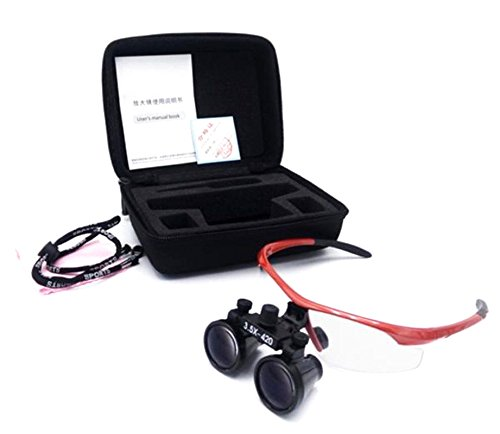 BoNew 3.5X420mm Dental Surgical Medical Binocular Loupes Magnifier Red+Black