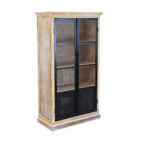 Milani Home s.r.l.s. vetrina in Legno e Metallo per Salotto Soggiorno Cucina di Design Industrial cm 72 x 35,5 x 130,5 h