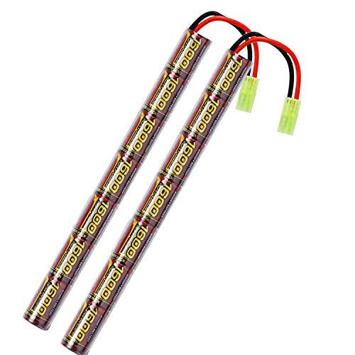 melasta 2pack 2   3A 8.4V NIMH Airsoft Batería 1600mAh Batería Tipo Stick con Conector Mini Tamiya para Pistola Airsoft AK47 MP5K RPK PKM