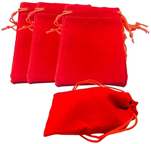 hsj LF- Spielzeug 50Pcs Mini weiches Rechteck Samt Kordelzug Beutel-Hochzeits-Geschenk-Beutel Schmuck Sack 5x7cm Red Lernen