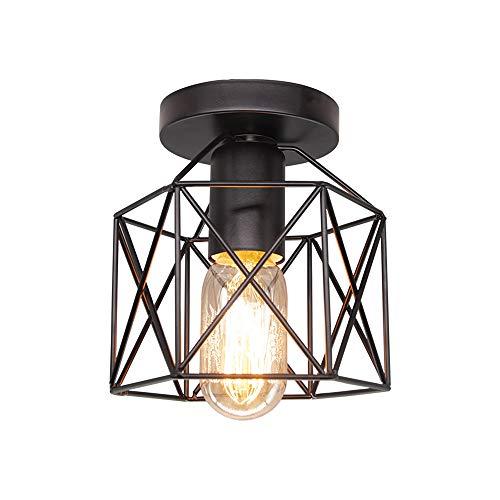 Lámpara de techo industrial jaula negra, para dormitorio, sala de estar, cocina, pasillo, hierro, accesorio de iluminación de techo retro vintage, luz cálida incluida