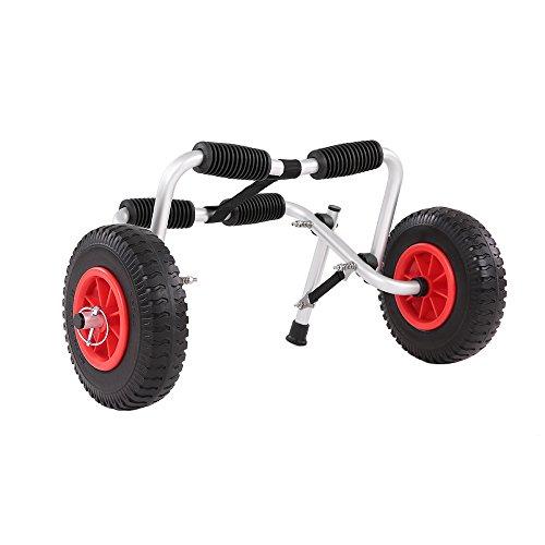 Lixada Kayak Carro de Transporte Plegable de Aluminio + Rubber, 61x26x13cm, Pesa 2,3 kg, con Dos Ruedas de Ahorro Trabajo y Pulsera de 364cm, 75 kg Capacidad de Carga
