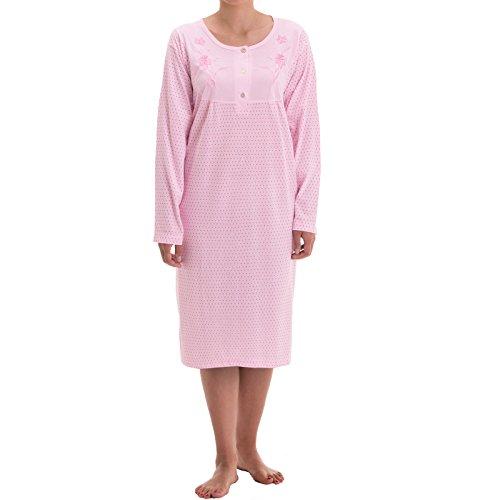 Zeitlos - Damen Nachthemd Fiona Langarm Schlafshirt Blumen Punkte, Farbe:rosa, Größe:L