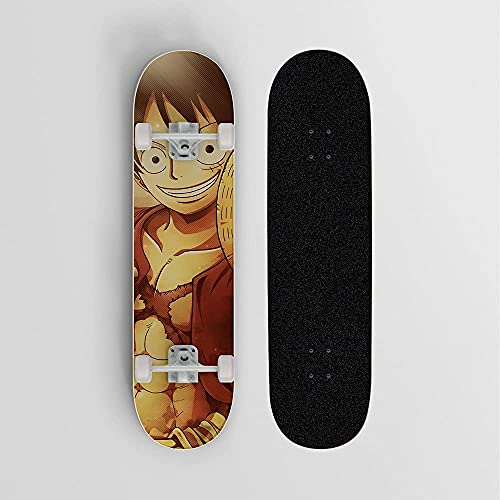 Nixi888 Monopatín de Cuatro Ruedas de patineta de Anime, monopatín para Principiantes/Adolescentes, Adecuado para Deportes Extremos y Actividades al Aire Libre para UNO Piece Monkey D. Luffy Smiley