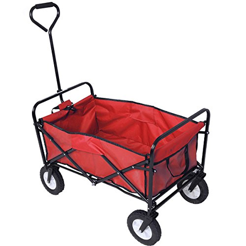 One Happy Shop Trendy Folding Collapsible Utility Wagon Garden Cart Shopping Buggy Yard Sports Beach This Folding Wagon Has Nearly Limitless Uses.