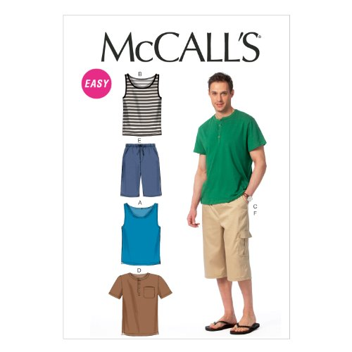 McCall Pattern Company M6973 Men's Tank Tops, T-Shirts and Shorts, Size XN