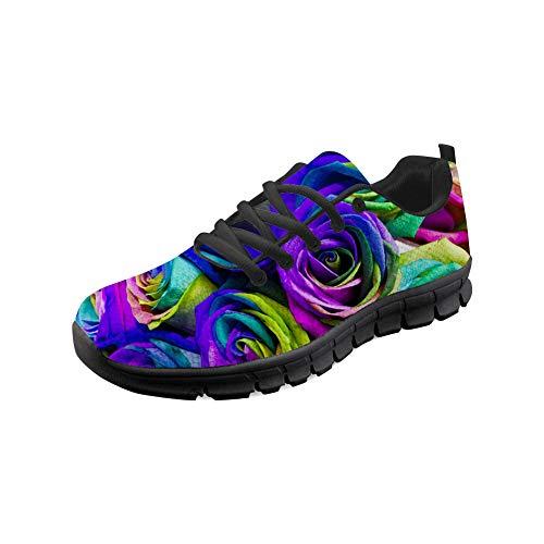 Wrail Unisex Schuhe Turnschuhe mit Motiv Laufschuhe Blumenmuster Bequem Sneaker Schnürer Fitness Outdoor Leichte Atmungsaktiv Sneaker Bunte Sportschuhe Einkaufen Schuhe Bunt EU 36