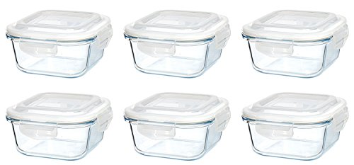 Original Glas Click´n Store Frischhaltedosen-Set 6 mal 320 ml Inhalt #802237 quadratisch / 100% luft- und wasserdicht/hitzebeständig bis 400 Grad/BPA-frei