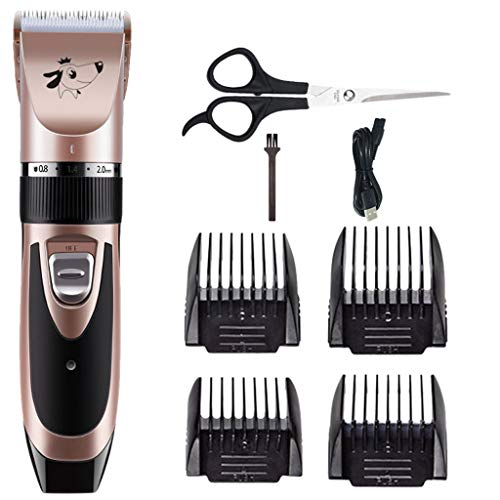 Best Professional Hair Clippers and Trimmer for Dogs Cats, Professional Dog Shaver Clippers, Low Noise, Rechargeable Cordless,Electric Quiet Hair Clippers Set for Dogs Cats Pets 20ML (Rose Gold)