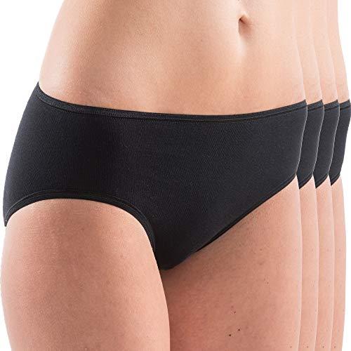 HERMKO 1031 Damen Midi-Slip Bio-Baumwolle 4er Pack (Weitere Farben), Farbe:schwarz, Größe:40/42 (M)