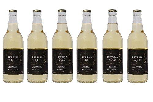 6x Retsina Gold geharzter Weißwein 11% 500 ml Flaschen C.A.I.R.- + 2 Probier Sachets Olivenöl aus Kreta a 10 ml - aus Griechenland griechischer Weiß Wein