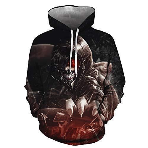 WOAIM Tokyo Ghoul 3D Sudaderas con capucha para hombre/mujer, anime 3D estampado japons con capucha Kaneki Ken Streetwear chaqueta negra, 4XL