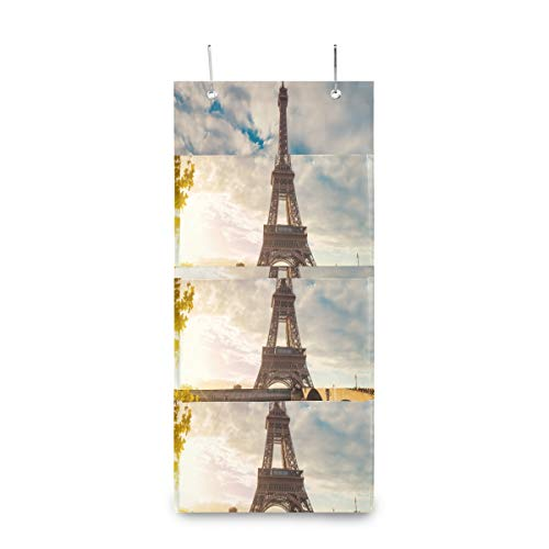 SHNUFHBD 4 Grids Wall Hanging Storage Bags,Eiffel Tower Paris France Vector Storage Bag Over The DoorBag with 2 Easy Access Durable Metal Hooks,Space Saver Bags Suitable for Living Room, Bedroom, Etc