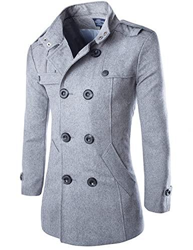 wkd-thvb Abrigo de lana de los hombres de doble botonadura larga chaqueta cortavientos otoño invierno lana abrigo hombres negro, gris, L