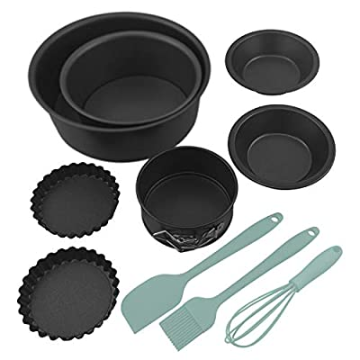"""Bakeware Baking Set Nonstick for Oven includes 8.3""""&4.3"""" Cake Pans/ 6-cup Muffin Pan/ 6.1"""" Bread Pans/ 3.9"""" Tart Pans/ 3"""" Cake Cups/Silicone Whisk Spreader Spatula Basting Brush - 16 Piece (Aqua)"""