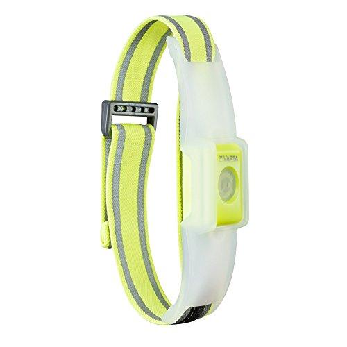 VARTA 2x 5 mm LED Outdoor Sports Reflective Band (inkl. 2x CR2032 Knopfzellen Taschenlampe Lampe elastisches Reflektorband mit Klettverschluss - Sicherheit beim Sport, Joggen, Reiten, Laufen)