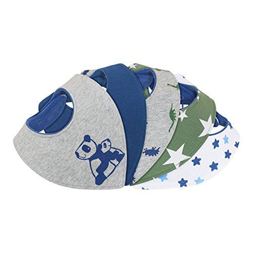 Dreieckstuch Halstuch Baby - saugstark doppellagig weich - Geschenk-Box - Sabberlätzchen Sabber-Tuch Spuck-Lätzchen Sabber-Latz Bandana Sabber-Tücher Junge-n - 6 nickelfreie Druckknöpfe - 5er Set