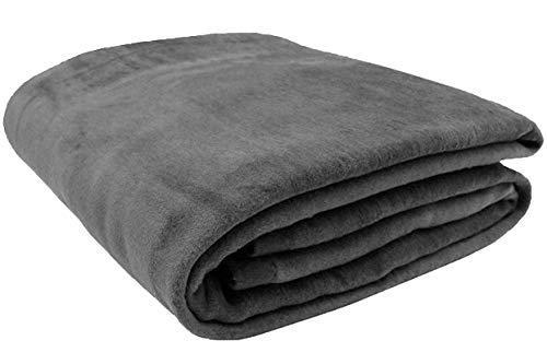 ZOLLNER Wolldecke grau 220 x 240 cm, Baumwollmix, viele Farben, Größen