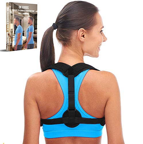 Back Posture Corrector for Women & Men - Discreet Comfortable Clavicle Support Back Brace - Neck Back and Shoulder Pain Relief Figure 8 Clavicle Brace for Posture Correction and Alignment (Universal)