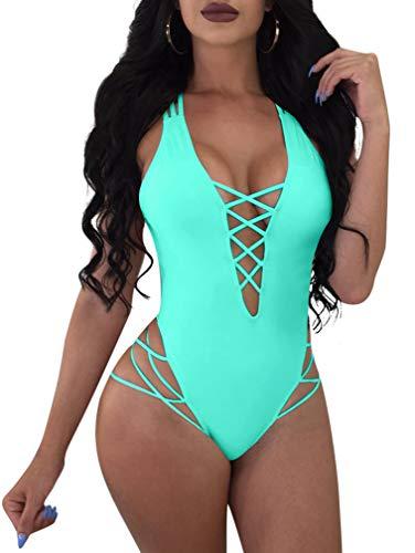 LAGSHIAN Womens Sexy One Piece Lace Up Straps Swimsuit Bathing Suit Swimwear Lake Blue