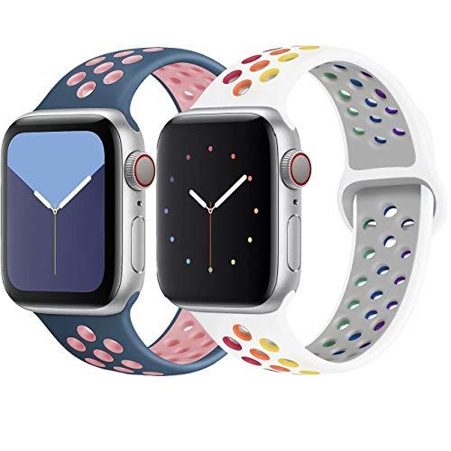 INZAKI Kompatibel mit Apple Watch Armband 42mm 44mm,weich atmungsaktives Silikon Sport Ersatzband für Armband für iWatch Serie 5/4/3/2/1,Nike+,Sport,wasserdicht,M/L,W-Pride/BluePink