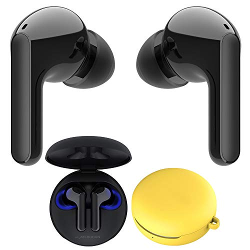 LG Tone Free HBS-FN6 True Wireless Earbuds Bluetooth Meridian Audio with UVnano Case Bundle with LG Macarons Carrying Case for Tone Free FN6 Headphones, Lemon