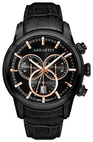 ASSARTO Watches ASH-9830BK/S-BLK Chronotime-Series Chronograph mit Schweizer Uhrwerk, Saphirglas, schwarzen Lederarmband, Luxusuhr, Armbanduhr, Herrenuhr, Edelstahluhr, Sportuhr, Quarzuhr, Uhr