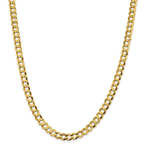 14k Yellow Gold 7.2mm Lightweight Flat Cuban Chain Necklace 24 Inch Pendant Charm Curb Miami Fine Jewellery For Women Mothers Day Gifts For Her