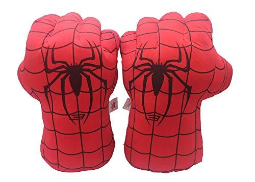 Yangyme 1 Paar Plüsch Kinder Boxhandschuh Super Man Spider Helden Weiche Plüsch Handschuhe Fausthandschuhe für Kinder Geburtstag Weihnachten lustig, rot, Einheitsgröße