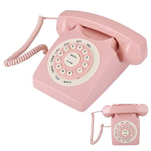 ASHATA Vintage Teléfono Fijo de Escritorio, Digital Vintage Teléfono Fijo Alta definición Calidad de Llamada Teléfono con Cable Teléfono clásico Retro con Tono de Llamada para Oficina en casa Rosa