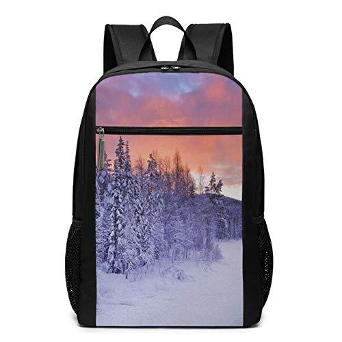 Schulrucksack River Wintry Landscape Finnisch, Schultaschen Teenager Rucksack Schultasche Schulrucksäcke Backpack für Damen Herren Junge Mädchen 15,6 Zoll Notebook