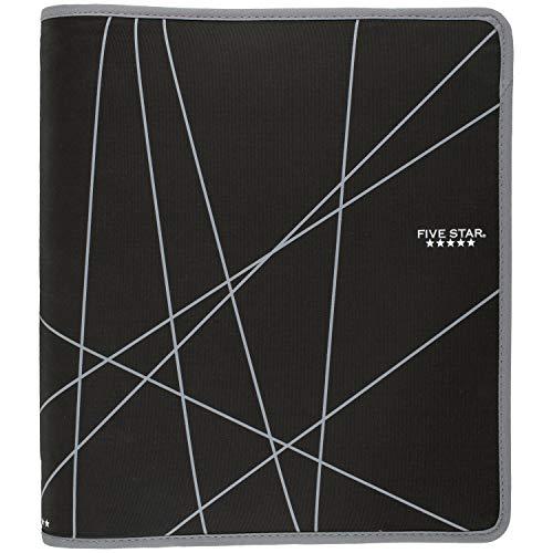 Five Star Zipper Binder, 1-1/2 Inch 3 Ring Binder, Durable, Black (72360)