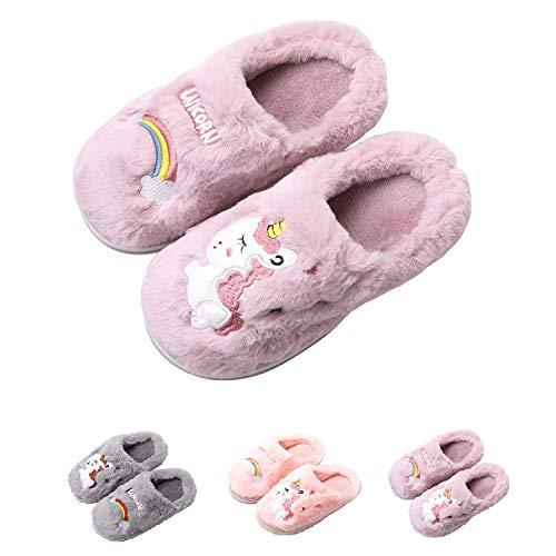 HausFine Hausschuhe Plüsch Wärme Weiche Hausschuhe rutschfeste Pantoffeln Pantoletten Kuschelige Einhorn Hausschuhe für Mädchen Jungen Kinder (30-31 EU, Lila)