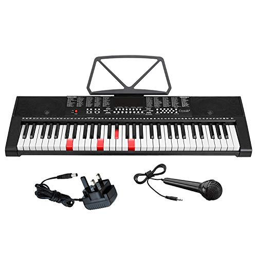 Price comparison product image 61 Keys Teaching Type Electronic Lighted Keyboard Digital Music Instrument Piano & Microphone by Crystals®