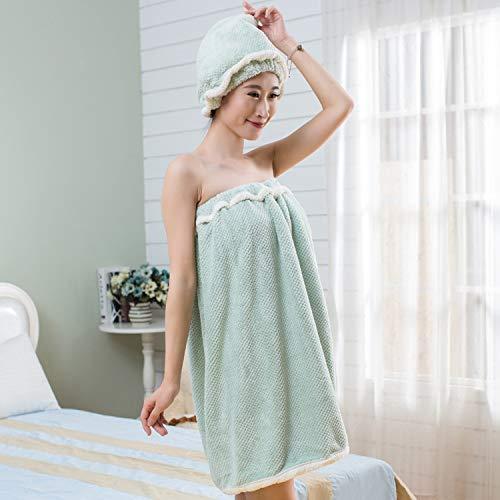 XYFL Serviette Wrap Cheveux Turban Femmes Soft Microfibre Wearable Spa Douche Bain Wrap sans Bretelles Couvrir Jusqu'à Robe De Tube De Bain Robe Peignoir avec Dos élastiqué,Green