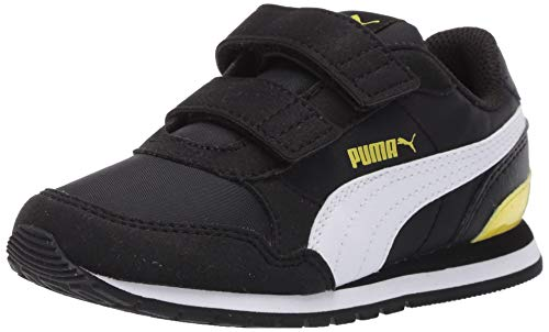 PUMA Baby ST Runner Velcro Sneaker, Black White-Meadowlark, 4 M US Toddler