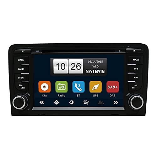 SWTNVIN Built-in Dab+ Autolink Radio de Coche Estéreo GPS Navegación Fits for Audi A3 S3 RS3 Sportback Bluetooth 5.0 Unidad Principal 7 Pulgada HD Touch Screen En el Tablero SWC DVD FM USB SD