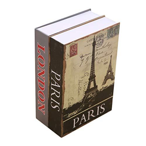 YOT Caja de Bloqueo de combinación Oculta con Llave de Bloqueo portátil Hollow Libro Seguro Caja Fuerte portátil es Ideal para Viajar al Almacenamiento de Joyas de Dinero y pasaportes