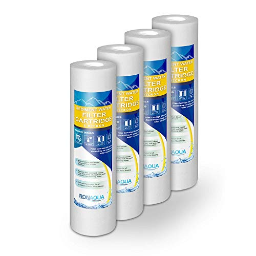 Sediment Water Filter Cartridge by Ronaqua 10x 2.5, Four Layers of Filtration, Removes Sand, Dirt, Silt, Rust, made from Polypropylene (4 Pack, 5 Microns)