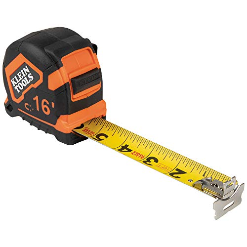 Klein Tools 9216 Tape Measure, 16-Foot Double-Hook Double-Sided Measuring Tape, Magnetic with Retraction Speed Break and Metal Belt Clip