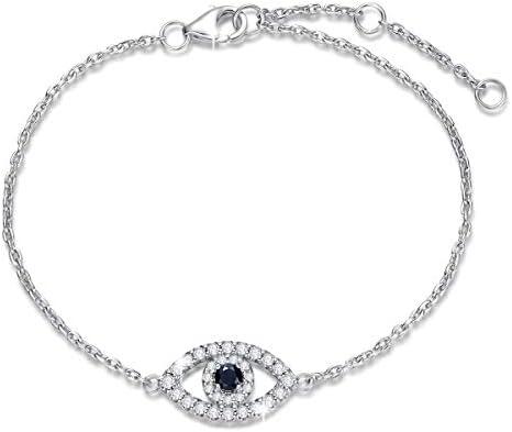 FANCIME 925 Sterling Silver Evil Eye Bracelet Black Cubic Zirconia Bracelet Yom Kippur Gifts product image