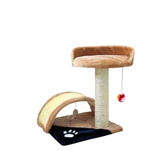 Silvio Design Katzenbett, Kratzbaum, Spieltunnel für Katzen, in beige-blau, Höhe ca. 44 cm
