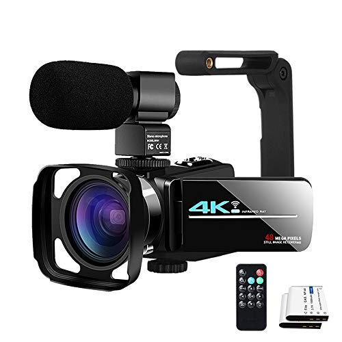 Video Camera YouTube Camera for Vlogging Live Streaming IR Night Vision UHD 4K Webcam 48MP 16X Digital Camcorder 3.0 Inch IPS Touch Screen Stabilizer Video Camera with Microphone