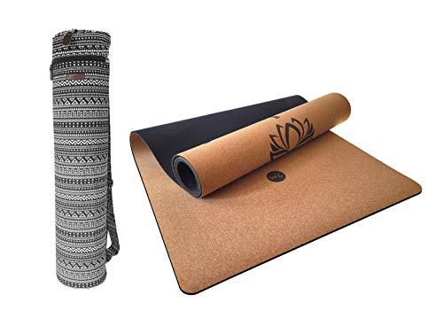 Esterilla de Yoga de Corcho + Bolsa de Transporte | Antideslizante Y Ecológica (4mm de Espesor) | Ideal para Principiantes y Avanzados | Para Entrenamiento, EstiramientoS y Pilates | 185x61cm (Dharma)