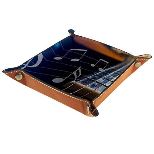 YATELI Caja de Almacenamiento pequeña, Bandeja de Valet para Hombre,Musical de notación de Guitarra,Organizador de Cuero para Llaves de Caja de Monedas