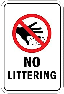 Amai store No Littering with Symbol Safety Warning Wall Decorated with 12x16 Inche Tin Signs