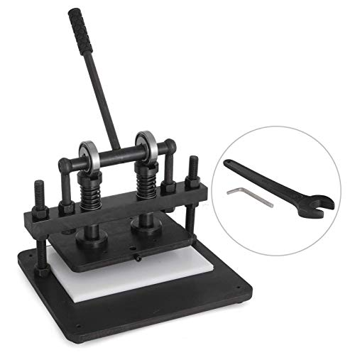 VEVOR Leather Cutting Machine Black Manual Leather Embossing Machine 260x160 mm Upper Platen Manual Leathercraft Cutting Machine for Various of Materials